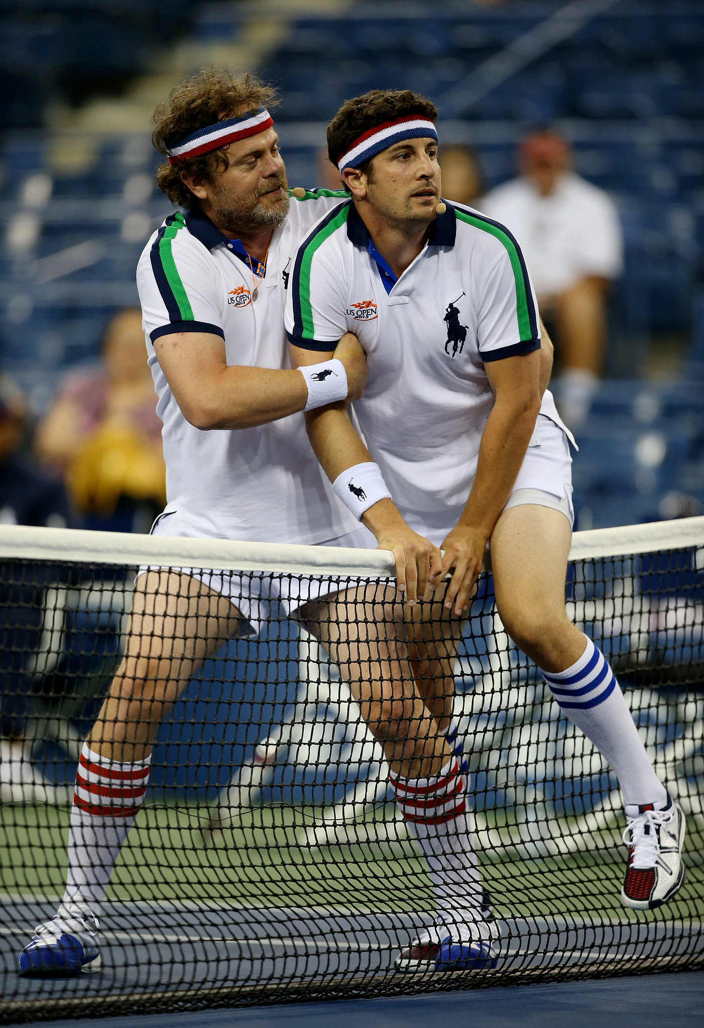 Rainn Wilson and Jason Biggs took the court for fun during a break from the competition.