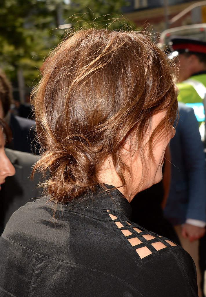 Here's Kristen Wiig donning a tousled, low-slung bun while walking the red carpet at the Hateship Loveship premiere.