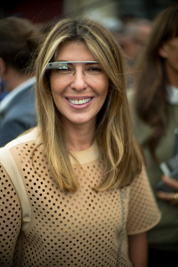 Nina Garcia modeled Google Glass in the front row of Alexander Wang.