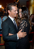 Matthew McConaughey and Camila Alves showed sweet PDA inside the event.