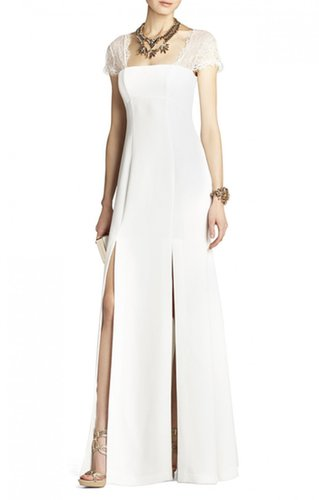 BCBG JULIA FITTED LACE-BACK GOWN OFF WHITE