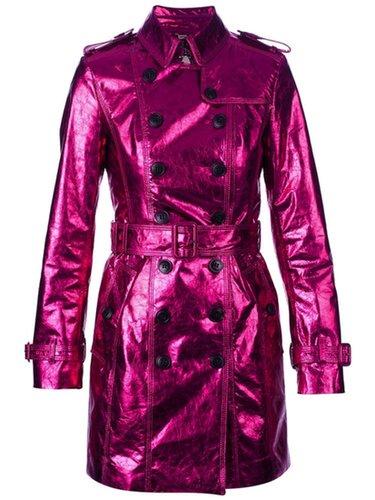 Pink Metallic Trench Coat