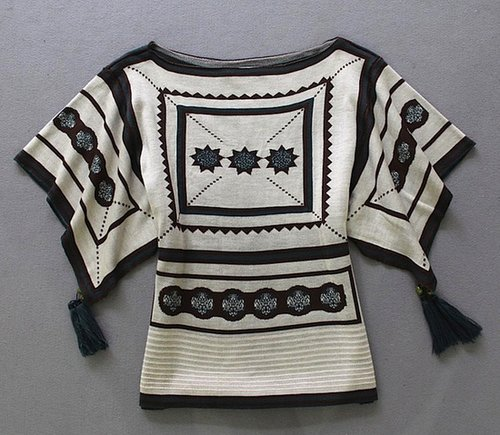 Kimono Sweater Abstract Top with Beaded Tassels