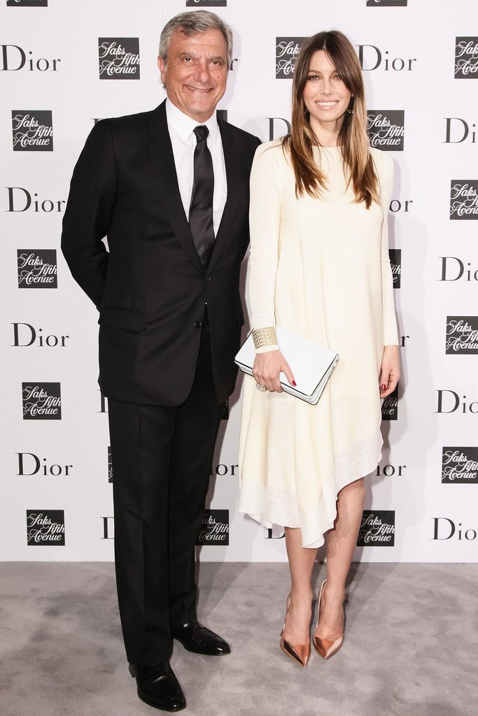 Jessica Biel posed for photos at the Dior dinner in NYC.