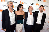 Sandra Bullock shared a laugh with Alfonso Cuarón, David Heyman, and Jonás Cuarón on the red carpet.