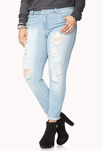 FOREVER 21+ Laid Back Distressed Skinny Jeans