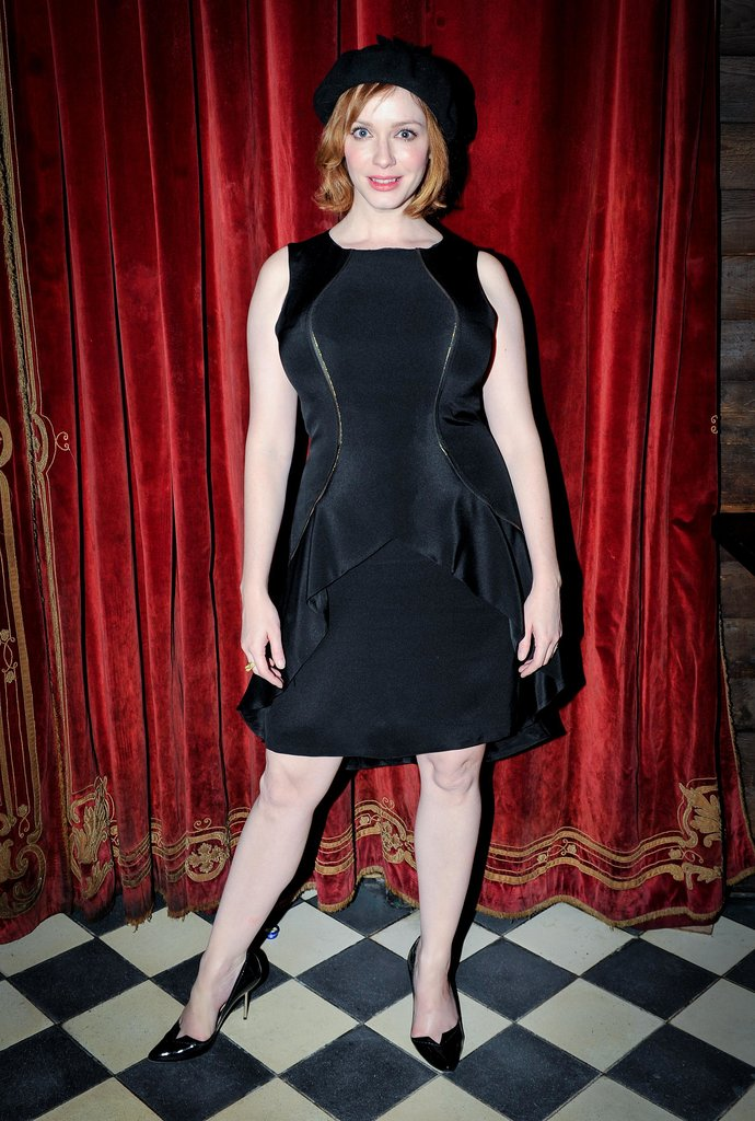 Christina Hendricks went for all black everything at the Christian Siriano afterparty.