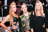 Jeremy Scott was flanked by Paris Hilton and Nicky Hilton at the Stephen Gan & V Magazine party.