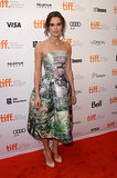 Keira Knightley got feminine in a floral strapless fit-and-flare Mary Katrantzou dress and nude ankle-strap pumps at the Can a Song Save Your Life? premiere at the Toronto International Film Festival.
