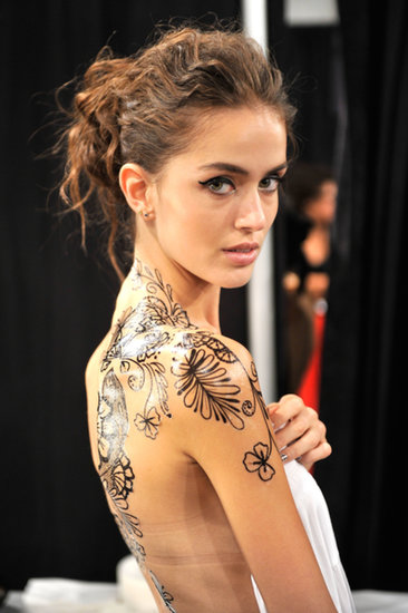 Models Get Tattooed Backstage at Tracy Reese