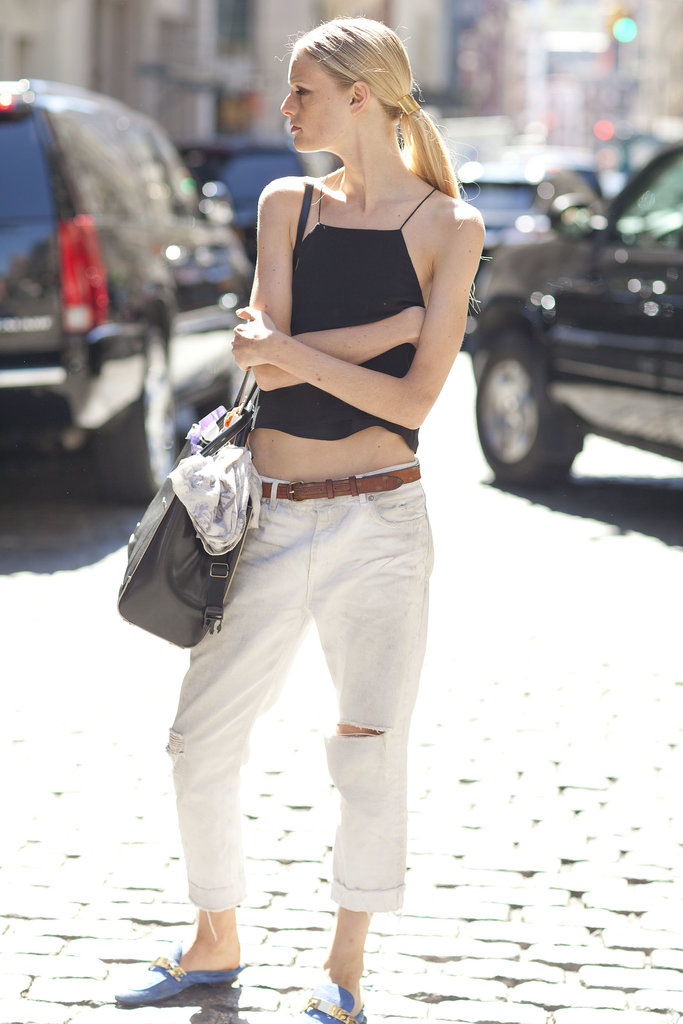 Who knew that a bared midriff went so well with loafers? Mix-master Hanne Gaby Odiele!