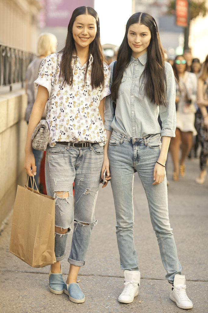 This duo stayed coordinated in easy denim.