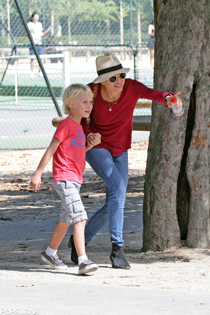 Naomi Watts spent the afternoon at a Parisian park with her son Sasha.