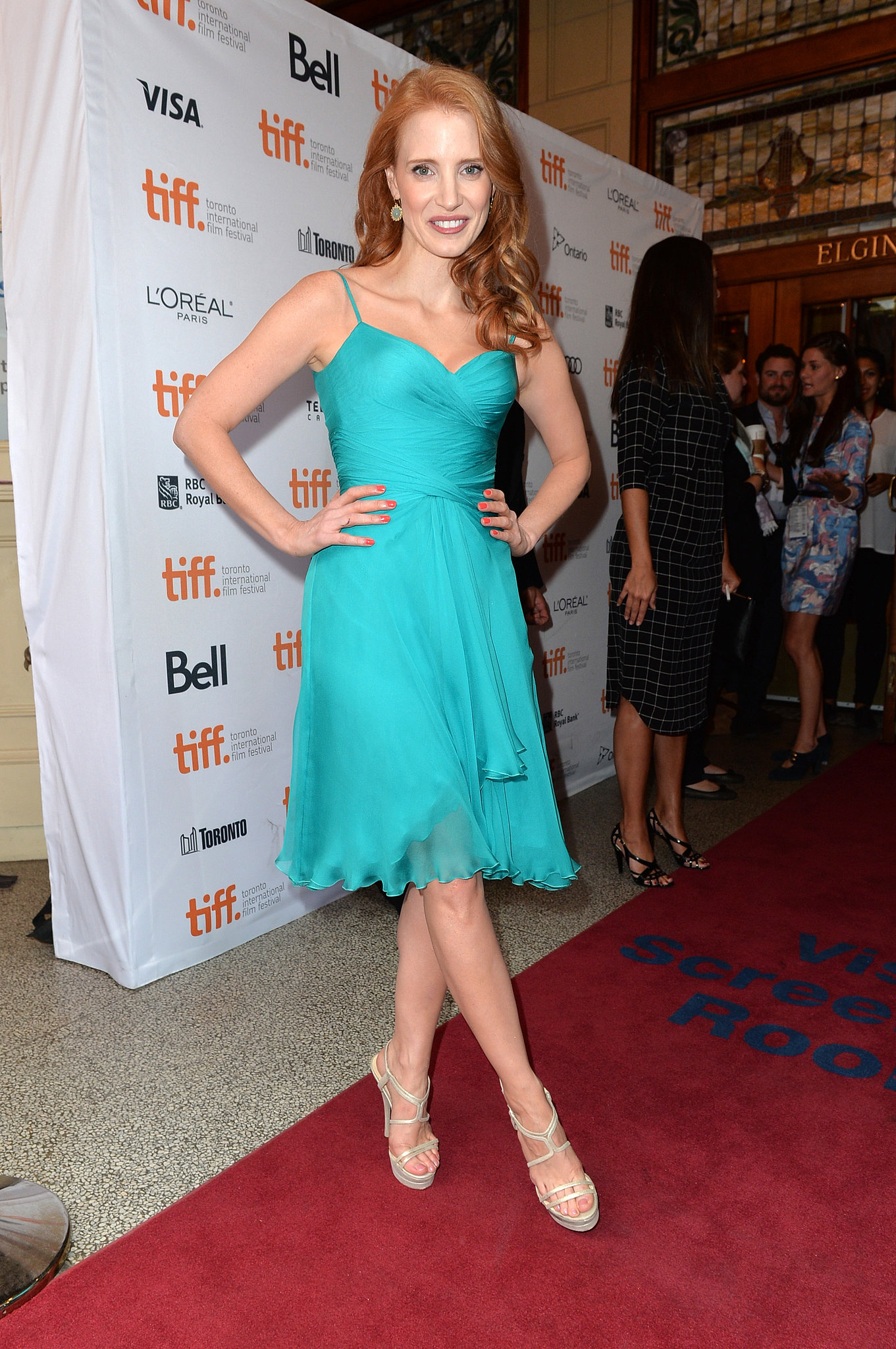 Jessica Chastain posed on the red carpet during the premiere of The Disappearance of Eleanor Rigby: Him and Her.