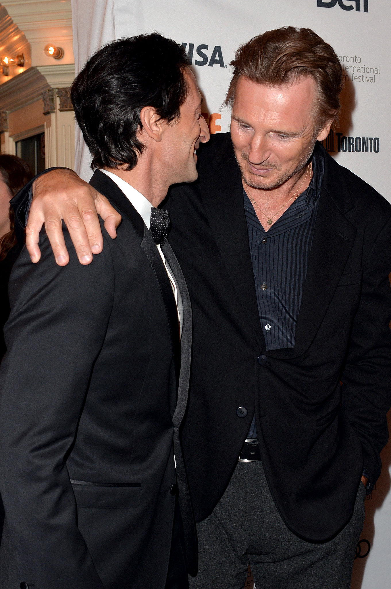 Adrien Brody and Liam Neeson shared a moment at the Third Person premiere.