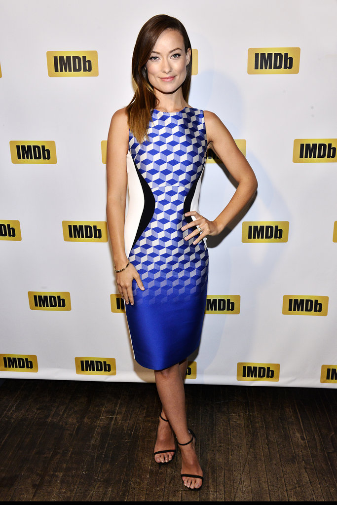 Olivia Wilde played an optical illusion in her printed shift dress at the STARmeter Award ceremony in Toronto.