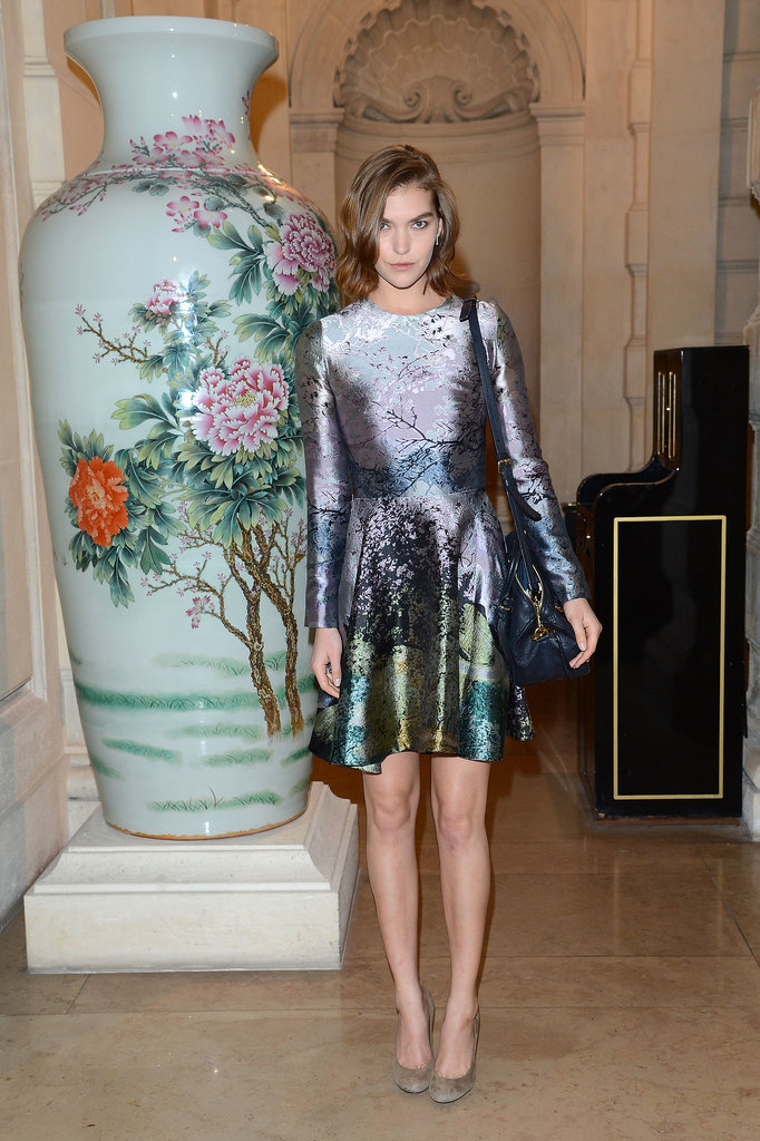 Arizona Muse joined Karlie Kloss in wearing Mary Katrantzou for the CR Fashion Book party.