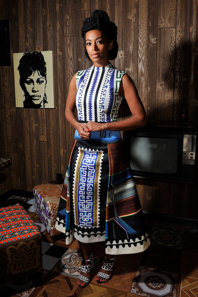 Solange Knowles picked a moody blue Mary Katrantzou dress for an appearance at Art Basel in 2013.