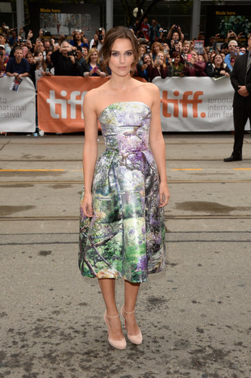 For the premiere of Can A Song Save Your Life? at the Toronto Film Festival, Keira Knightley wore a strapless woodland-print Mary Katrantzou cocktail dress.