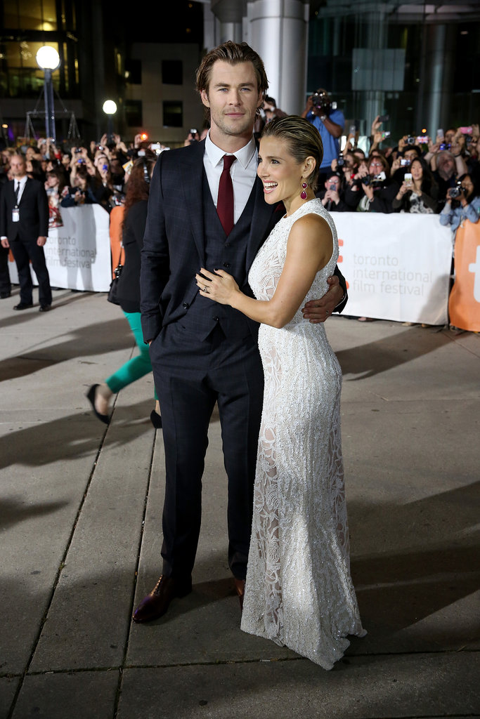 Elsa Pataky and Chris Hemsworth arrived to a crowd of waiting fans.