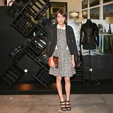 Ella Catliff layered leopard under her blazer at the Loewe Fashion Week bash.