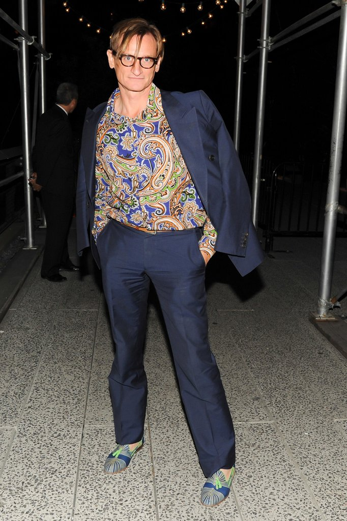 Hamish Bowles dared to wear paisley under his blue suit while exiting the DVF afterparty.