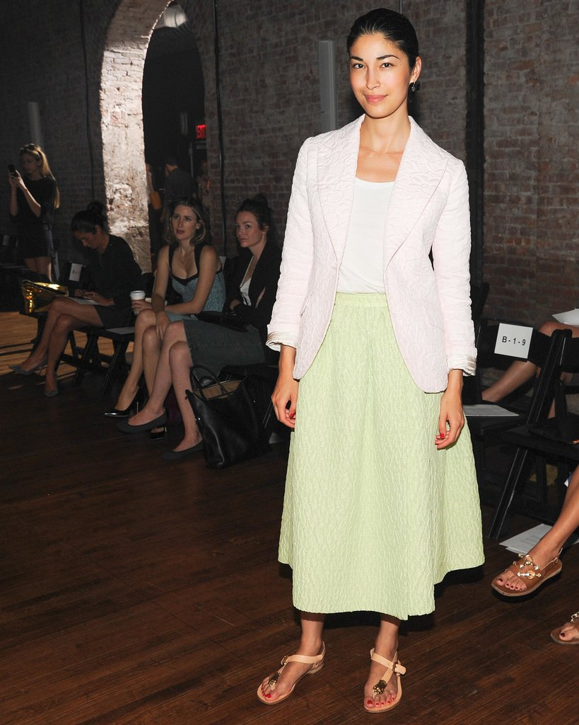 Caroline Issa stood out in a pastel green skirt at the Yigal Azrouël runway show.