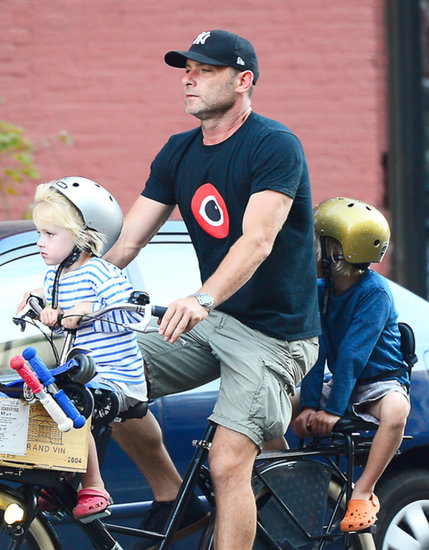 Liev Schreiber rode his bike with his two sons.