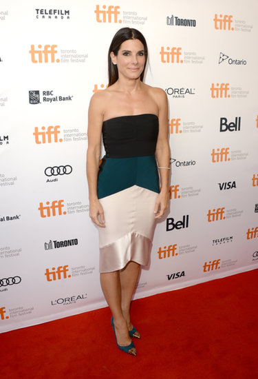 Sandra Bullock continued her recent red carpet streak with a sleek colorblock Narciso Rodriguez dress for the premiere of her buzzy new film Gravity.
