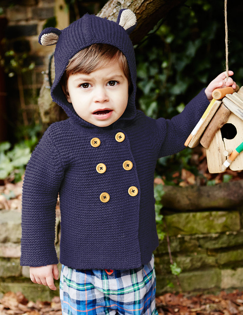 Warm up, baby bear! Mini Boden's knit jacket ($42) is offered in navy, blush, soft blue, and soft mole, all with cozy hoods and bear ears!
