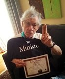 "Ian McKellen officiated the wedding of his pal Patrick Stewart to girlfriend Sunny Ozell. Patrick announced the news on Twitter, and Ian followed up on Facebook with a photo of himself with his officiant papers and a ""Minister"" t-shirt. He wrote, ""I did my part."" Source: Facebook user Ian McKellen"