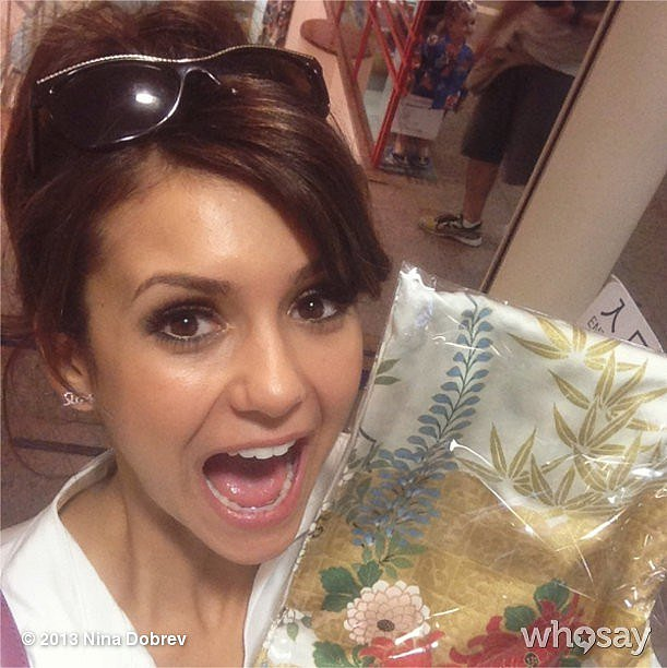 Nina Dobrev embraced the local culture with a kimono in Tokyo. Source: Instagram user ninadobrev