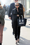 Nicole made the NYC street her catwalk in an all-black ensemble, featuring a supple Rick Owens leather jacket and a two-toned Céline tote in March 2011.