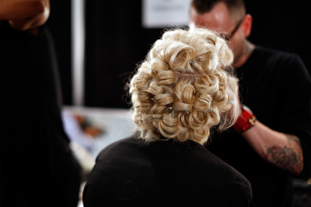 The ultimate bridal moment, pin curls at Malan Breton.