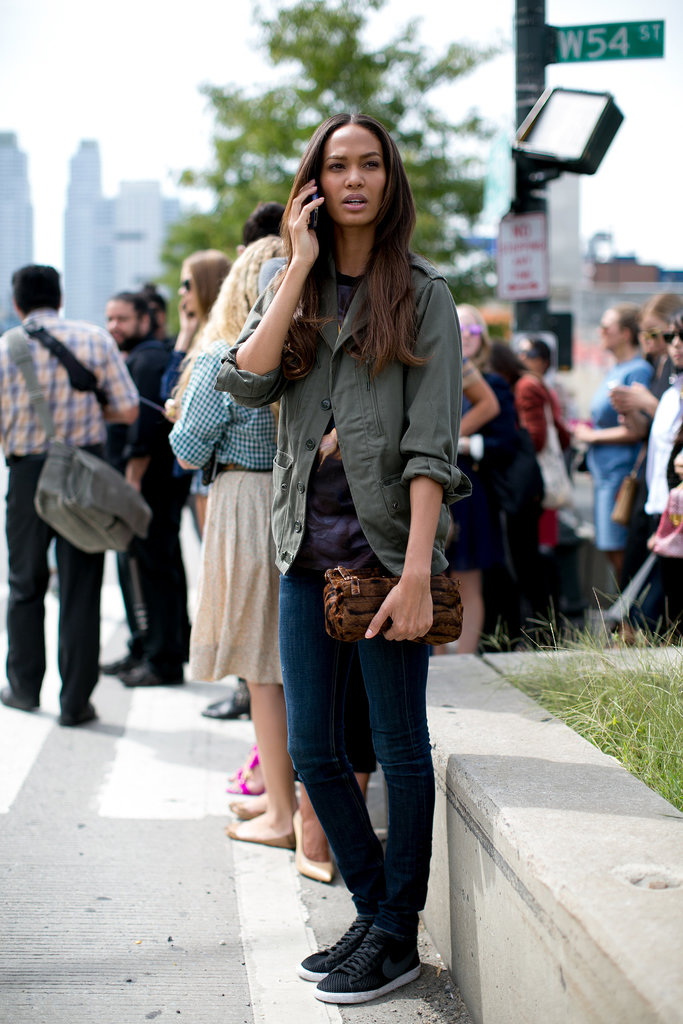 Joan Smalls nailed the cool off-duty vibe in an anorak and high-tops following the Tommy Hilfiger show.