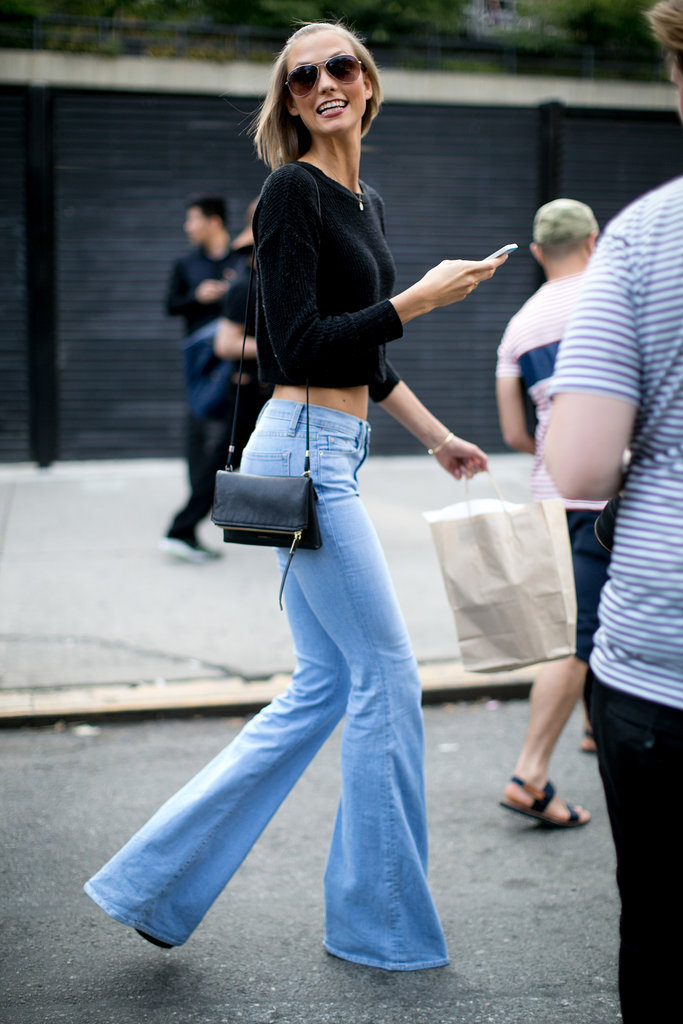 When she wasn't on the runway, Karlie Kloss was wearing flares.