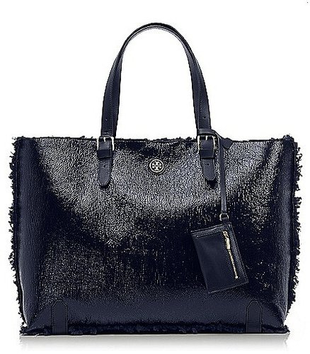 Tory Burch Patent Shearling Tote