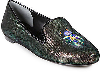 Tory Burch Cailyn Iridescent Leather Smoking Slippers