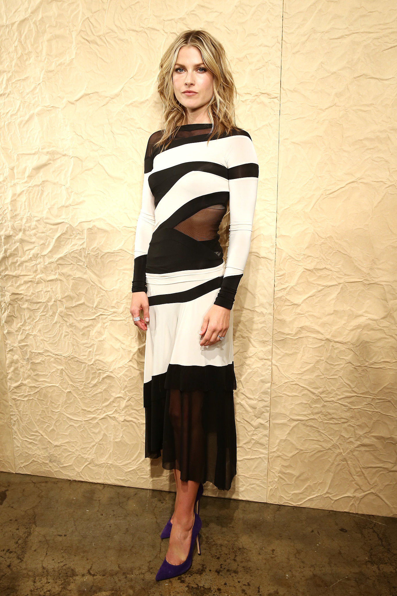 Ali Larter draped herself in a black-and-white sheer dress and A.Jaffe rings at the Donna Karan New York show.