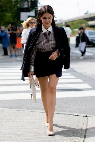 Miroslava Duma got geeky-chic in a collared shirt and specs.