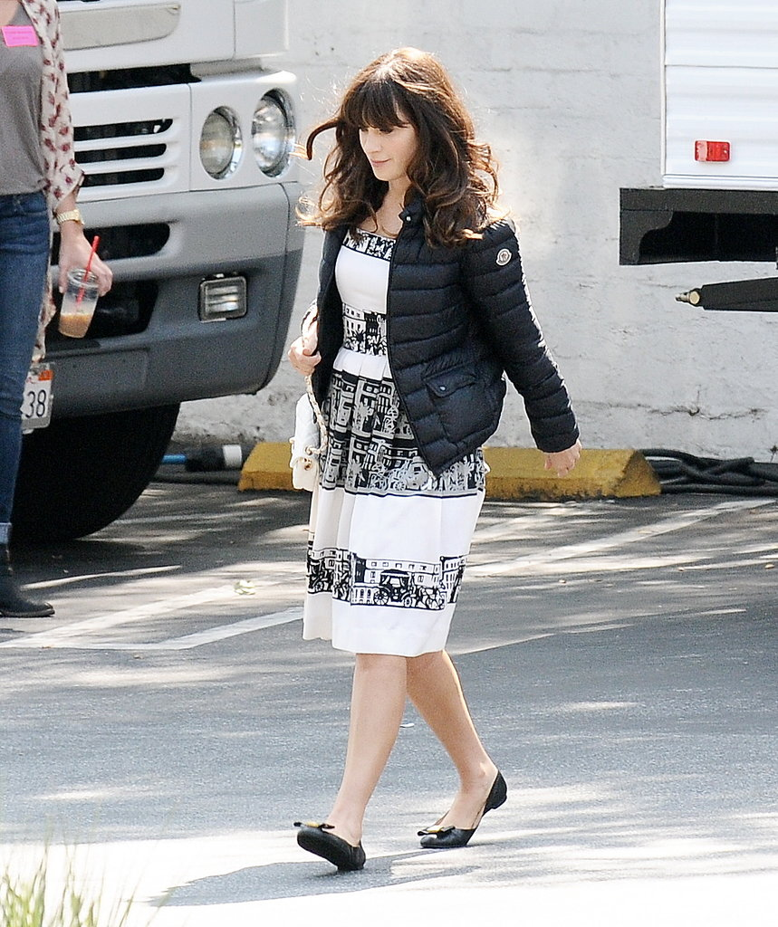 Zooey Deschanel headed to the set of New Girl in LA on Monday.