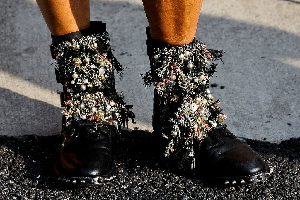 Anna Dello Russo took the Saint Laurent Fall '13 boots from the runway to the street.