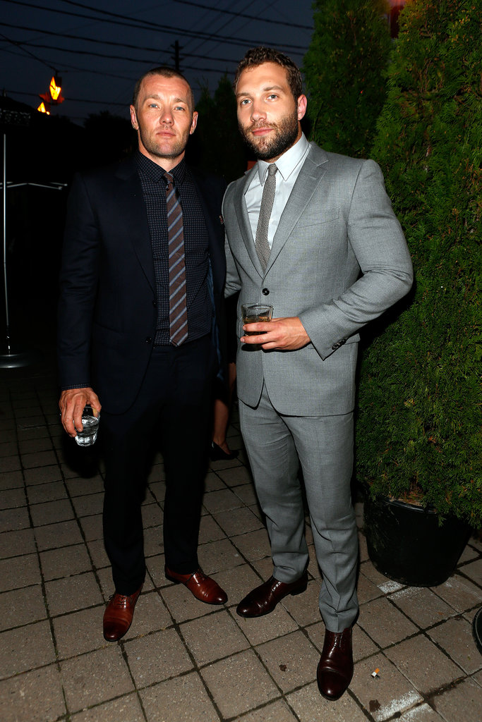 Aussie actors Joel Edgerton and Jai Courtney met up inside the cocktail party for Felony.