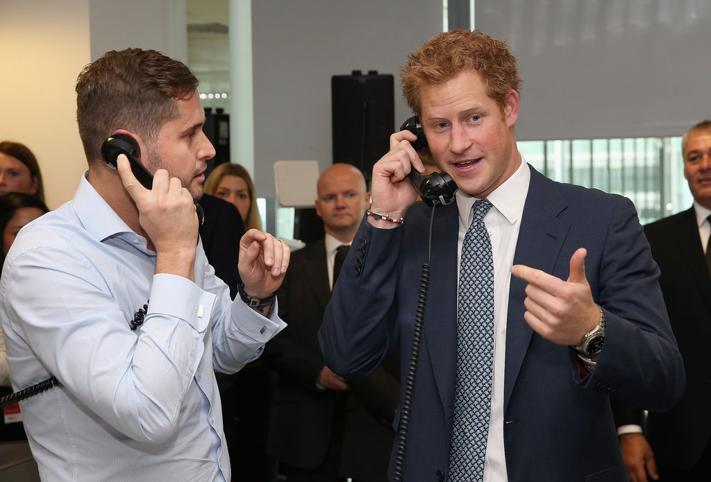 Prince Harry joked around while playing stockbroker.