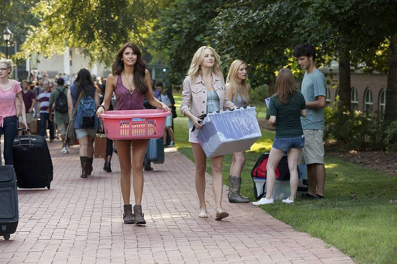 Nina Dobrev and Candice Accola on the season five premiere of The Vampire Diaries.