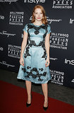Jessica Chastain was a vision in a blue-and-black Dolce & Gabbana dress and custom-made Salvatore Ferragamo heels at the HFPA/InStyle party during the Toronto International Film Festival.