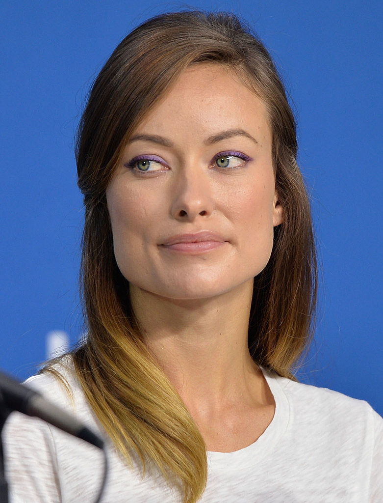 Olivia Wilde proved ombré hair and purple liner are a cool combo at the Third Person press conference.