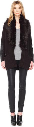 Michael Kors Faux-Fur-Collar Knit Cardigan