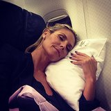 Heidi Klum caught some zzz's on a flight home from NYC. Source: Instagram user heidiklum