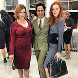 "Zac Posen posed with his ""two favorite redheads,"" Christina Hendricks and Karen Elson. Source: Instagram user zac_posen"